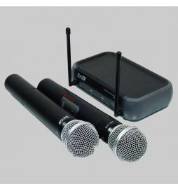 Micrófono VHF doble ideal para karaoke e iglesias pequeñas.